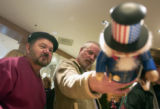 (Denver, Colo., December 26, 2004) Al Grinestaff, left, and Mike Van Cleave, right, both of...