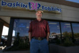 Dan Hayes (cq) in front of the Baskin Robbins, scene of last months deadly car accident, 1155 S....