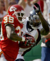 JOE0881 Denver Broncos Brandon Marshall (15) chases Kansas City Chiefs Brandon Carr after his...