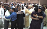 Colorado Muslims celebrate the  end of Ramadan after communal prayers at Red Lion Hotel  3200 S...