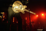 Tom DeLonge's (cq) guitar, lead singer for Angels and Airwaves, sings at the Broomfield Event...