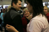 Todd Palin gets the female volunteers in the McCain/Palin campaign office fired up in Eagle, CO,...