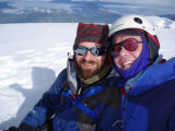 Jim Davidson and Rodney Ley on the summit of Cayambe in Ecuador during a Colorado State University...
