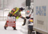(DENVER Colo., January 5,  2005) Denver firefighter Jess Covey, from Station #8, braved the frigid...