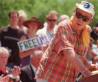 Hunter S. Thompson speaks at a rally at the Colorado State Capitol protesting Lisl Auman's life...