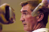 (DENVER, Colo., January 10, 2005) Denver Broncos Head Coach Mike Shanahan talks with the media at...