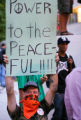 Protesters, both violent and peaceful, demonstrate at the Democratic National Convention. Anti-war...