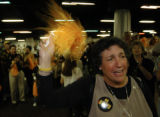 (DENVER, CO., DECEMBER 28, 2004)  An emotional University of Colorado football fan, Joan Russell,...