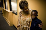 Dr. Carolyn Jones (cq) comforts Ashton Jones, 9, (cq) with a hug after he was having a bad day at...