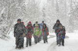 A group of ten  fifth grade students from University Charter School In Greeley hike in North Ten...