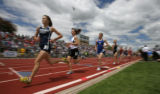 In girls 4A 1600m  run second from the front -Laura Tremblay of Thompson Valley won at the...