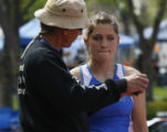 "Pole vaulter, Longmont's Elizabeth Stover set a 4A state record 13'3"" and gets some advice..."