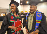 L to R: Darla Ruff (cq) and her husband Thornel Ruff (cq) during the Spring 2008 Commencement for...