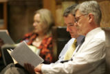 House Speaker Andrew Romanoff -D, left  talks with Representative Al White-R about HCR 1014, on...