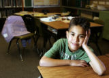 (CS032) Portrait of third-grader Brandon Garcia (cq), 8, at Sunset Ridge Elementary School in...
