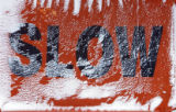 DM0866  LovelandSnowMaking55041 A slow sign is covered in manmade snow at Loveland Ski Area Wed.,...