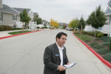 Joe Whitcomb (cq) a democrat running for state senate district 23 campaigns door to door Friday,...