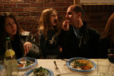 Doug Reznick (cq) feeds his daughter Chanah, 8 (cq) as friends and family of Jason and Ronit...