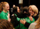 Marilyn Musgrave hugs supporters after debating Betsy Markey in the 4th congressional district in...