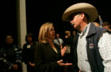 Betsy Markey talks with Gerald Schriber, of Last Chance, after debating Marilyn Musgrave for the...