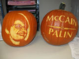 It's trick or treat, Republican style. These jack o' lanterns were at the McCain-Palin...