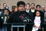 Denver resident Adrian Herrera (cq) speaks duirng a press conference held by local voter...