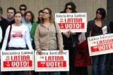 Local voter registration and labor groups held a press conference outside of Sec. of State Mike...