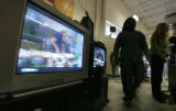 A TV displays a snowy view of whats is to come for analog viewers come Feb. 19, 2009 at Circuit...