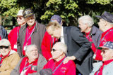 Senator Bob Dole meets with WWII veterans in front of the WWII memorial in Washington D.C. ...