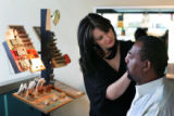 Day of beauty for Mike Pearson at Berenice's.  Sara DeLuca (cq) shapes Mike's eyebrows on October...