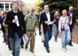 Congressman Mark Udall, candidate for the U.S. Senate seat in Colorado, makes his way to the...