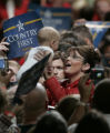 Republican VP candidate Sarah Palin works the crowd after her second of three stops at the...