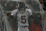 JPM140 Denver Broncos kicker Matt Prater moves a practice net against the New England Patriots in...