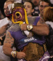 JPM528   New England Patriots  fan celebrates a touchdown by Randy Moss, a former Minnesota...
