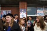 Supporters and volunteers for democratic U.S. Senate candidate, Mark Udall (cq), wait for the...
