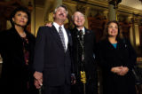 (Denver, Colo.11/3/04--Congressman elect John Salazar, with his wife Mary Lou, left, Senator Elect...