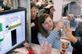 (BOULDER, Colo, November 4, 2004) Ellen Flannelly-D (left) and Lin Wicklund-R  visually resolve...
