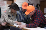 (CREEDE, Colo, October 19, 2004)  Sheriff Phil Leggitt gives some tips to out of state hunters...
