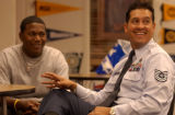 [Aurora, CO, PHOTO TAKEN OCTOBER 21, 2004-Air Force Sgt. Everett Costa (right) talks with  Smoky...