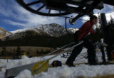 (Arapahoe Basin., on 10/21/2004)-First-year Arapahoe Basin ski area lift operator Kati O'Hare, a...