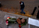 Colorado Springs, Colo. 10/22/04 -- At Colorado College a small memorial at Bemis Hall is laid for...