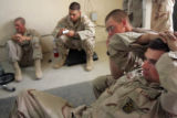04/08/2005 Iraq-PVT Tommy Florentino, right, and other members of 3rd Platoon, 3/3 ACR, have a...