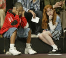 Survivors P.J. Allen, left, and Rebecca Denny become weary during the Monday April 18, 2005...