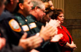(DENVER, Colo., May 2, 2005) Sue Claxton (cq) wife of slain Cortez Police officer Dale Claxton,...