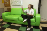 (DENVER, Colo., April 20, 2005) Heather Torbit, (cq Torbit from subject) on her break preparing to...