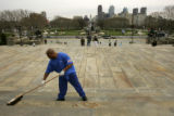 Melvin Frazier (cq), 41, sweeps the steps of the Philadelphia Museum of Art in Philadelphia, PA,...