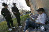 (Philadelphia, PA, April 6, 2005) Gail Evans, left, Outreach Response Worker for Project Home, and...