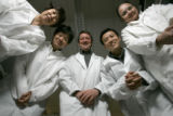 Scientists (from left) Dong Mei Miao , Naru Babaya,  John Hutton, Liping Yu, and Sunanda Babu are...