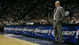 Denver Nuggets coach George Karl watches his team play the San Antonio Spurs in Game 2 of their...