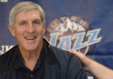 UTFH102 - Utah Jazz coach Jerry Sloan reacts during a news conference Thursday, May 12, 2005, in...